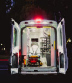 back of the emergency ambulance open