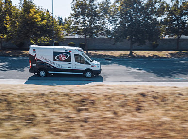 emergency ambulance on the road